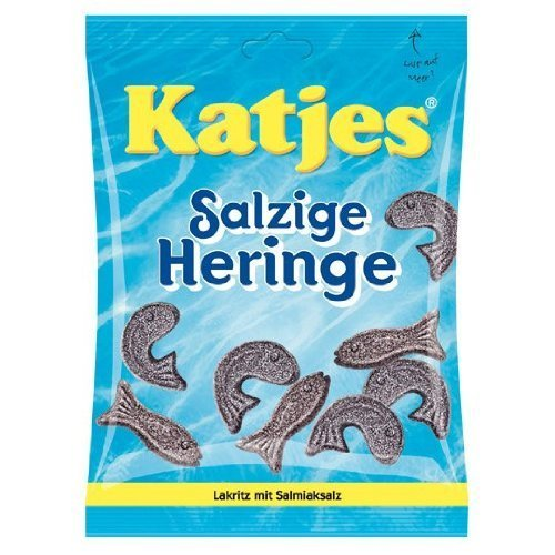 Licorice Katjes (Katjes Salzige Heringe (salty herring shaped licorice) 7.05 ounce, 200 gram (pack of 4))