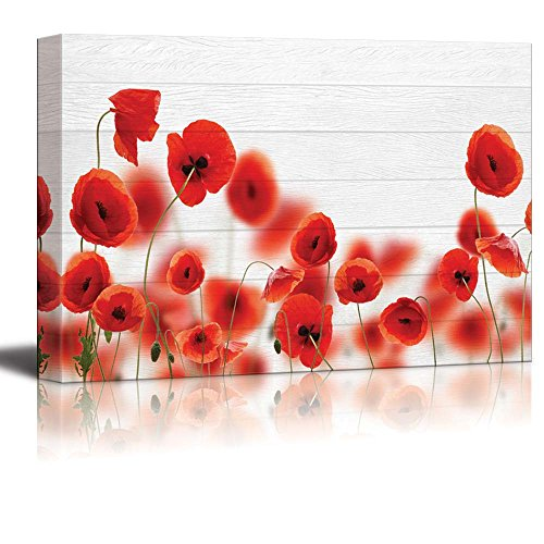 wall26 - Red Poppy Field Over White Wood Panels - Canvas Art Home Decor - 32x48 inches