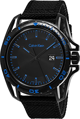 Calvin Klein 'Earth' Mens All Black Watch - Black PVD Stainless Steel with Black Fabric Leather Strap - Swiss Made Date Rotating Bezel Analog Quartz Movement - Calvin Klein Watches For Men K5Y31YB1 by Calvin Klein