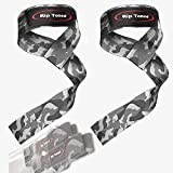 Rip Toned Lifting Wrist Straps by (Pair) - Bonus Ebook - Cotton Padded - for Weightlifting, Bodybuilding, Crossfit, Strength Training, Powerlifting, MMA (Grey Camo)