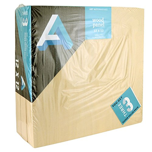 Art Alternatives Wood Panel Super Value Gallery 12x12 Pack of 3, Natural, by Art Alternatives