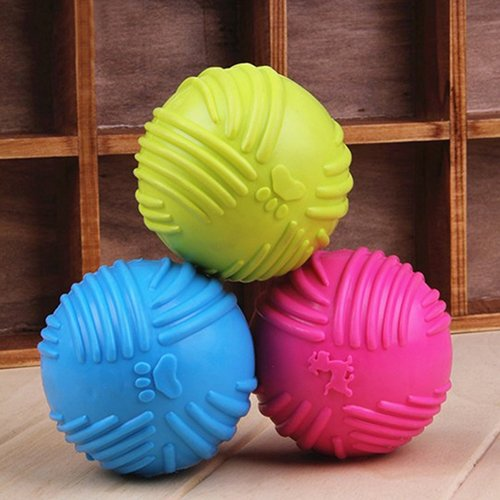 BLagenertJ Pet Dog Cats Play Rubber Ball Puppy Throw Teaser Playing Fetch Chew Bite ()