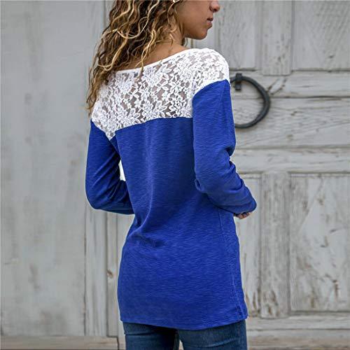 per pizzo elegante per larghe per Camicia cucire libero lunga Pullover il Top Camicetta tempo Girocollo Magliette in donna blu Manica prospettiva Geilisungren BxZP5qFww