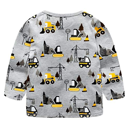 (Sayolala Children Kids Boys Girls Long Sleeved Work Vehicle Car Blouse Clothes Toddler Black Cardigan)