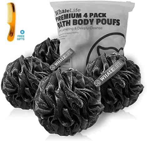 Shower Puff 4 Pack Black, Bamboo Charcoal Bath Sponge Shower Loofahs Pouf Ball, Fluffy Mesh Puffs Black, Shower Essential, Skin Care by Whale Life (Large)