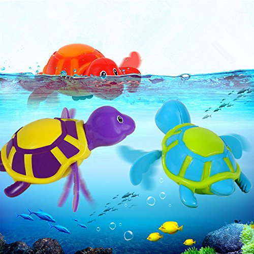 Pack of 3 Baby Bath Swimming Turtle Wind Up Toy Color Randomly; Bathtime Fun Floating Toys for Kids Play Plastic