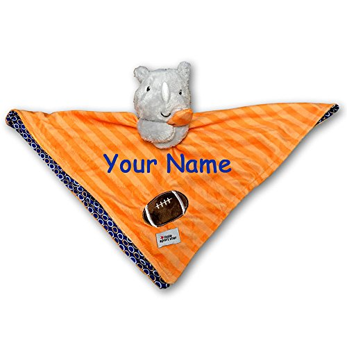 Kids Preferred Personalized Little Sports Star Orange and Blue Rhinoceros with Football Snuggler Baby Blanket with Name Embroidery - 18 Inches