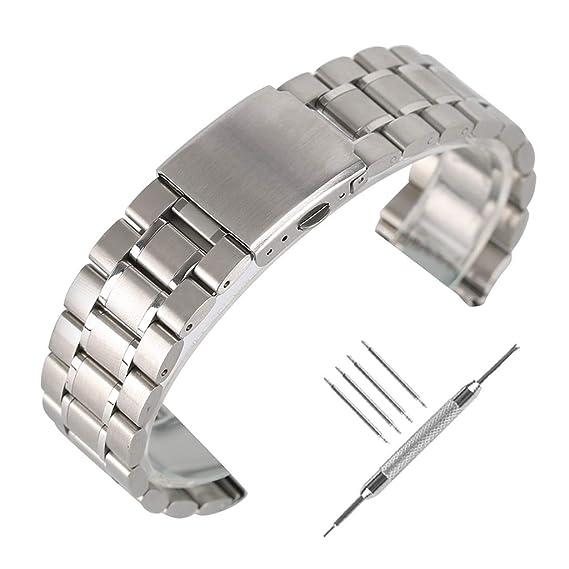 Correa de reloj de acero inoxidable macizo de 22 mm YISUYA Banda de muñeca de reemplazo