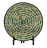 Woodland Imports 24192 Mesmerizing Metal Mosaic Platter With Stand