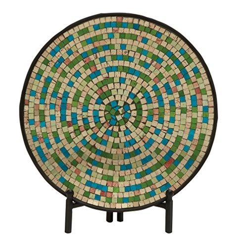 Metal Mosaic Plates (Woodland Imports 24192 Mesmerizing Metal Mosaic Platter With Stand)