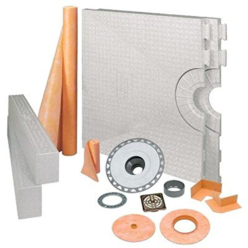 KERDI-SHOWER-KIT - 32 x 60 Tray - Shower Kit - Center Drain - ABS Flange - Brushed Nickel Anodized Aluminum