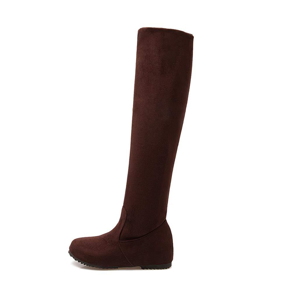 Hy 2018 Frauen Hohe Stiefel Herbst/Winter Wildleder Overknee Stiefel/Damen Große Größe Elastische Stiefel/Flache Stiefel Wanderschuhe (Farbe : Braun, Größe : 52)