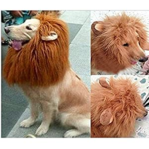 Geekercity Dog Lion Mane Wig- Realistic & Funny Lion Mane for Dogs - Adjustable Washable Lion Hair Dog Clothes Pet Dress up Costume with Ears for Halloween Christmas Easter Festival Party Activity