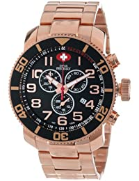 Men's SP13040 Verto Pro Black Dial with Rose-Gold Stainless Steel Band Watch