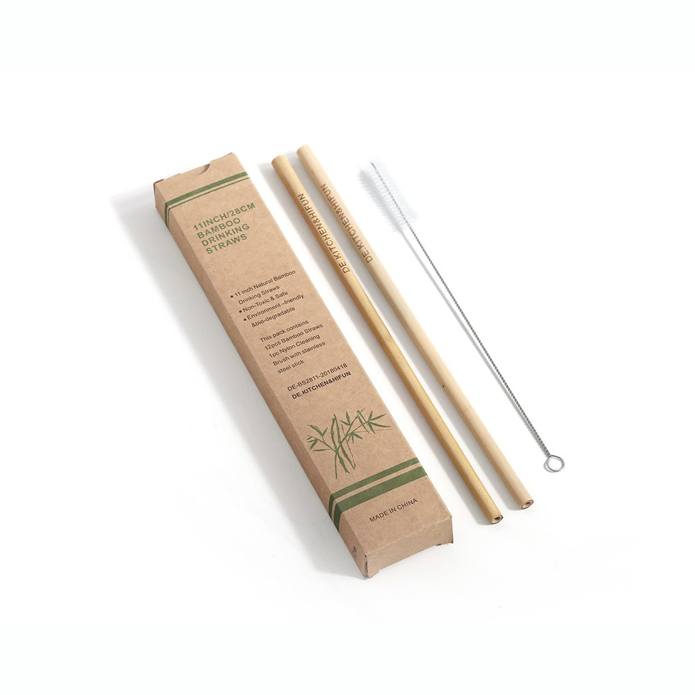 Premium Extral Long 11Inch Drinking Bamboo Straws Pack of 12,Hot Drinks or Cold Drinks Both Used,Cleaning Brush Included-Eco-Friendly, Natural, No Inks, Good Taste,Non-Toxic,Reusable and BPA Free