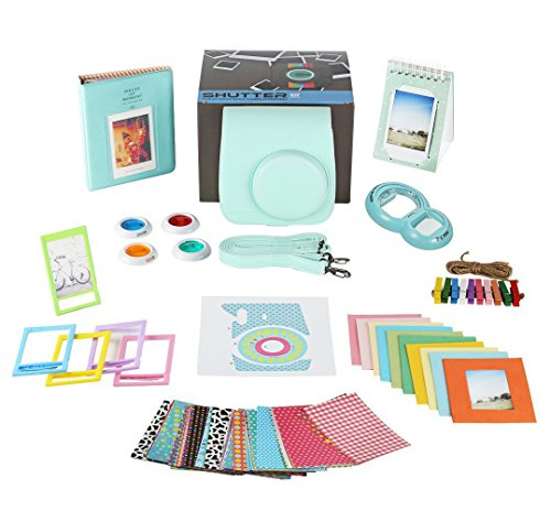 Fujifilm Instax Mini 9 Camera Accessories Bundle, ICE BLUE 11 PC Fuji Kit Includes: Mini Case + Strap, 2 Albums, 4 Color Filters, Selfie lens, + Hanging + Creative Frames, stickers, Gift - Fuji Accessory Kit