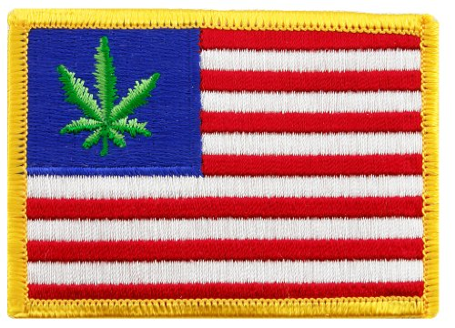 United-States-of-Weed-Embroidered-Patch-Marijuana-Pot-Leaf-American-Flag-Iron-On