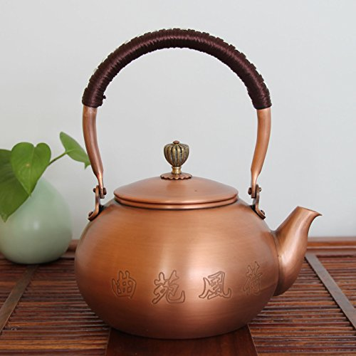 Heart Shape Glazed White Porcelain (Copper Teapot China Metal Brass Water Antique Kettle Coffee pot -- 40oz / 1200ml)