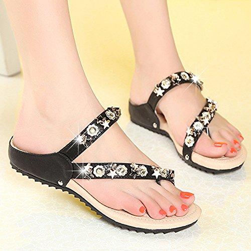 Flop Clip Roman Toe Zapatos Bohemia Flip Rhinestone Pool Sandals Zapatillas Ladies Black Tangas Beach Summer qBwEUxYxf