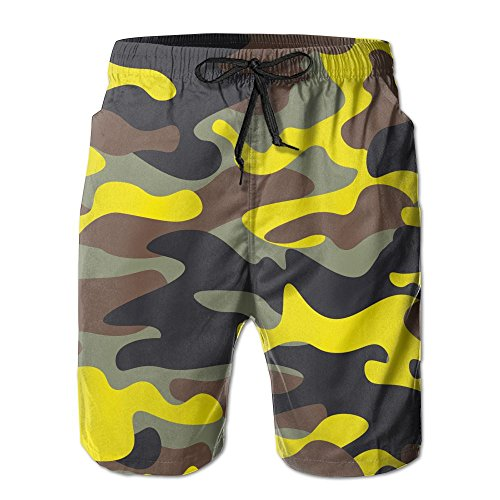 Fashion Wide Woodland and Yellow Camo Surfing Pocket Elastic Waist Men's Beach Pants Shorts Beach Shorts Swim Trunks