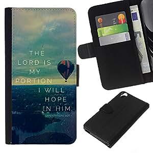 KLONGSHOP // Tirón de la caja Cartera de cuero con ranuras para tarjetas - BIBLIA Lamenations 03:24 El Señor es mi porción - HTC Desire 820 //