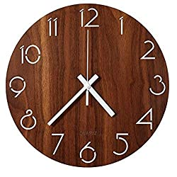 jomparis Rustic Country Tuscan Style Wooden Clock Battery Operated Small Decor Round Wall Clock (6 Inch)