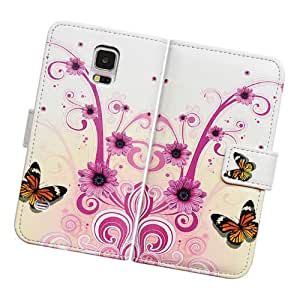Embalaje Fabcov Mariposa Flor de piel para Samsung Galaxy S5