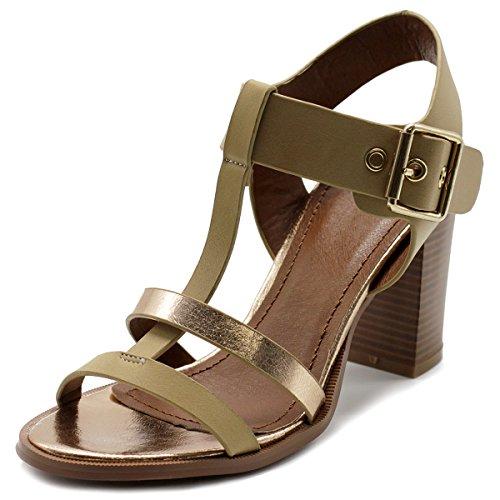 Block Sandal T High Strap Heel Beige Ollio Shoe Stack Womens nPpap
