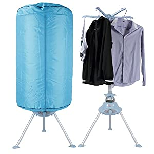 DELLA Compact Portable Electric Air Clothes Dryer Machine Stand Rack Holder with Heater, Blue