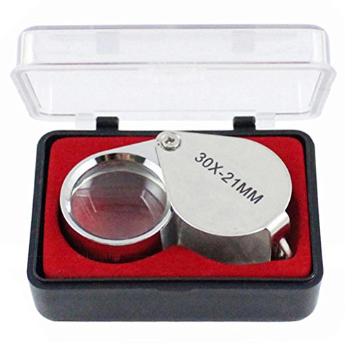 Yeefant 1Pc Folding Portable Ingenious Pocket 30X Jewellers Glass Antique Appreciation Magnifying Jeweler Eye Jewelry Loupe 21mm,Item Size 0.14x0.08x0.06 Ft -