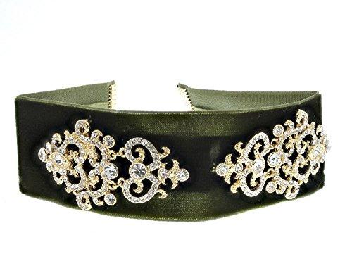 Redwood Women's Velvet Victorian Rhinestone Choker Necklace (Olive) (Violet Olive Green)