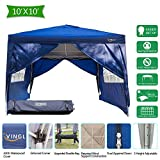 VINGLI 10'x10' Heavy Duty Ez Pop Up Canopy Tent w/4 Removable Sidewalls, Instant Folding Shelter with Rolling Carry Bag, Portable Adjustable Height Enclosed Gazebo for BBQ/Beach/Backyard/Party, Blue