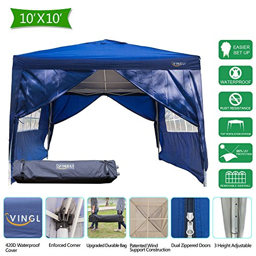 Cheap  VINGLI 10'x10' Heavy Duty Ez Pop Up Canopy Tent w/4 Removable Sidewalls,..