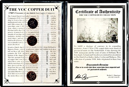 1760 Nl Four Voc Voc Dutch East Indies Co Copper Duits Coins 1700S With Certificate   Album Az 6 7 2 Voc Good
