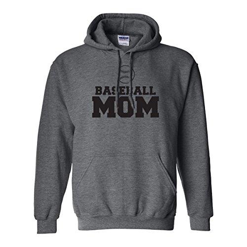 zerogravitee Baseball Mom Adult Hooded Sweatshirt in Dark Heather with black text - XXXX-Large
