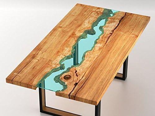 Mesa madera de diseño con ríos de cristal incrustados: Amazon.es ...