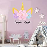 MORDUN Unicorn Party Supplies and Decorations Backdrop for Girls Birthday Party Baby shower - DIY Unicorn Flower Backdrop with Glitter Giant Horn Ears Eyelashes