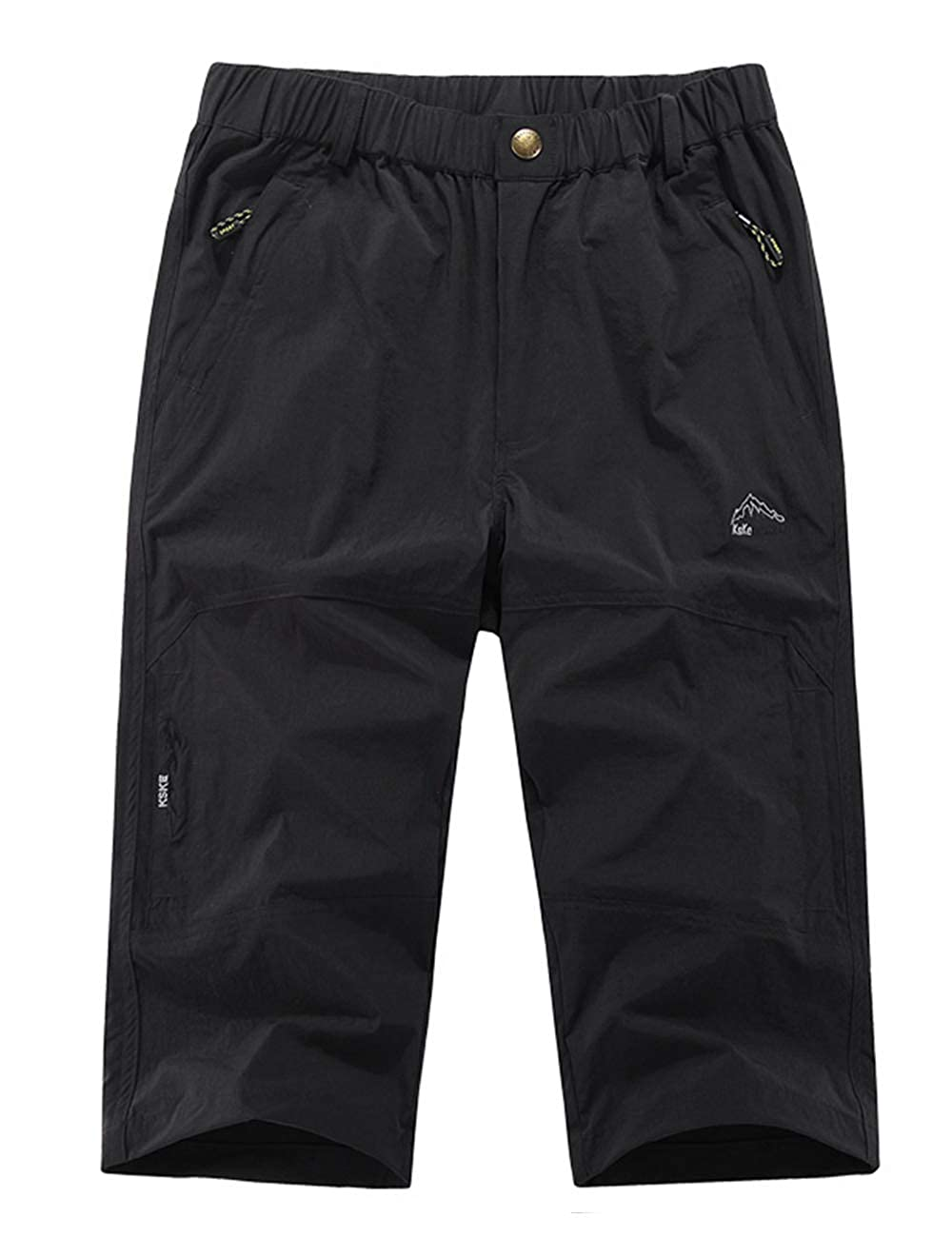 MAGCOMSEN Mens Capri Pants Elastic Knee Length Shorts 3//4 Shorts Quick Dry Multi-Pockets Cargo Capri Shorts
