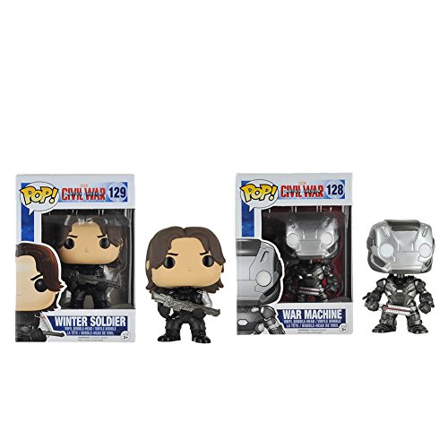 Funko POP Captain America: War Machine & Winter Soldier Civil War Action Figure Bundle (2 items)