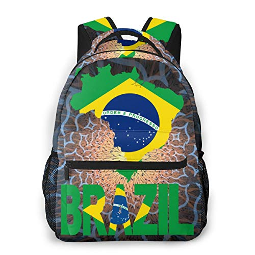 Casual Travel Backpack, Brazil Map Flag Daypack For Men And Women