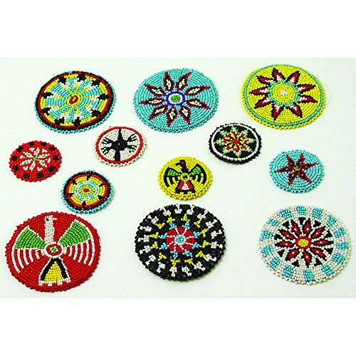 - 12 Small Native American Design Beaded Rosettes - Beaded Indian Medallions - Black Powder Beadwork