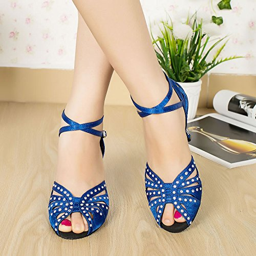 Abby BY-LD020 Womens Latin Tango Shoes Ballroom Dance Party wedding 6CM/7.5CM Flared Heel Peep-toe Satin dance-shoes Blue M7cIQB