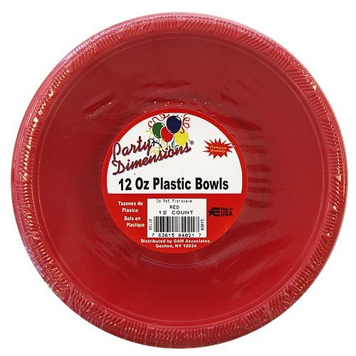 Party Dimensions 12 Count Plastic Bowl, 15 oz, Red -
