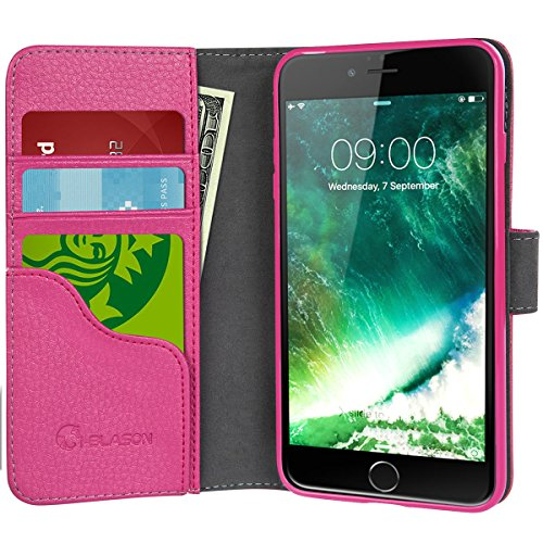 Iphone 7 Case  Iphone 8 Case  Wallet Case  I Blason For Apple Iphone 7 Apple Iphone 8  Kickstand  Leather Cover With Credit Card Id Holders Pink