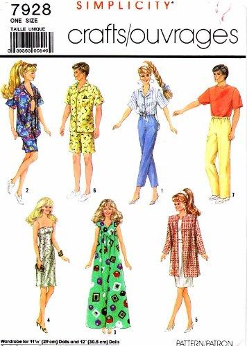 Barbie Doll Clothing Patterns - Barbie Brooke Shields Ken Dolls Clothes Wardrobe Simplicity 7928 Sewing Pattern
