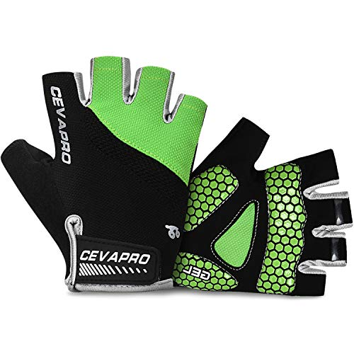 Fingerless Bike Gloves - Cevapro Cycle Gloves Mountain Road Bike Gloves Half Finger Bicycle Gloves with Anti Slip Shock-Absorbing Gel Pad Cycling Riding Biking Gloves MTB DH Road Bicycling Gloves for Men Women (Green, L)