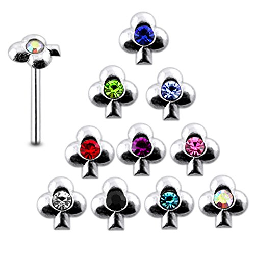 - Pack of 20 Pieces Mix Color 22G Sterling Silver Clover Straight End Nose Pin Stud
