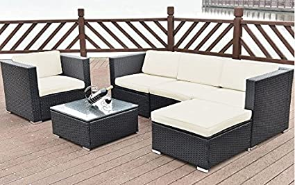 Amazon.com : K&A Company Wicker Rattan Patio Sofa Furniture ...