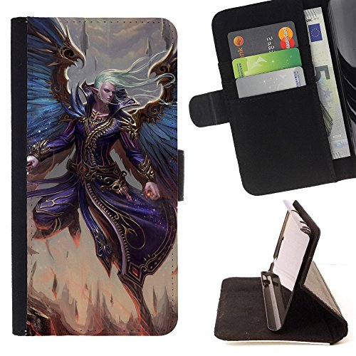 God Garden - FOR Apple Iphone 5 / 5S - Angel Warrior - Glitter Teal Purple Sparkling Watercolor Personalized Design Custom Style PU Leather Case Wallet Fli