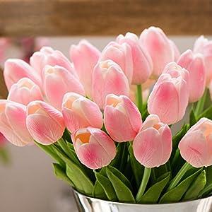 Artificial Tulips, Meiwo 10 Pcs Fake Tulips Flowers for Wedding Bouquets / Home Decor / Party / Graves Arrangement 5
